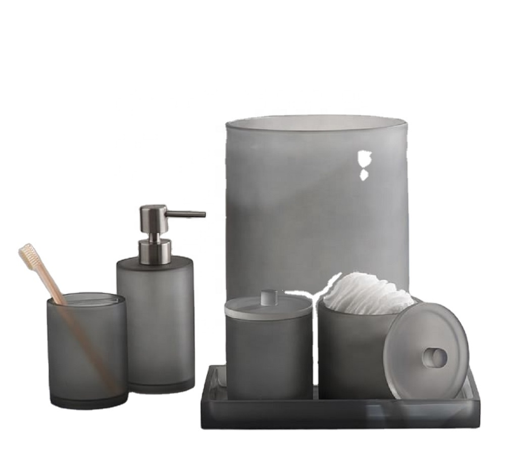 Luxury Grey Forest Resin Bathroom Set Accessories for Hotel