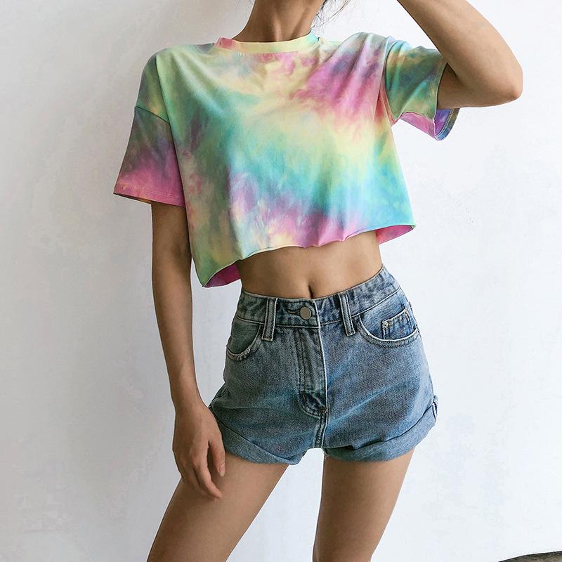 Funny Party Summer crop tops tie dye t shirts women logo wholesale short tie dye t-shirt ladies custom sexy tie dye tshirts