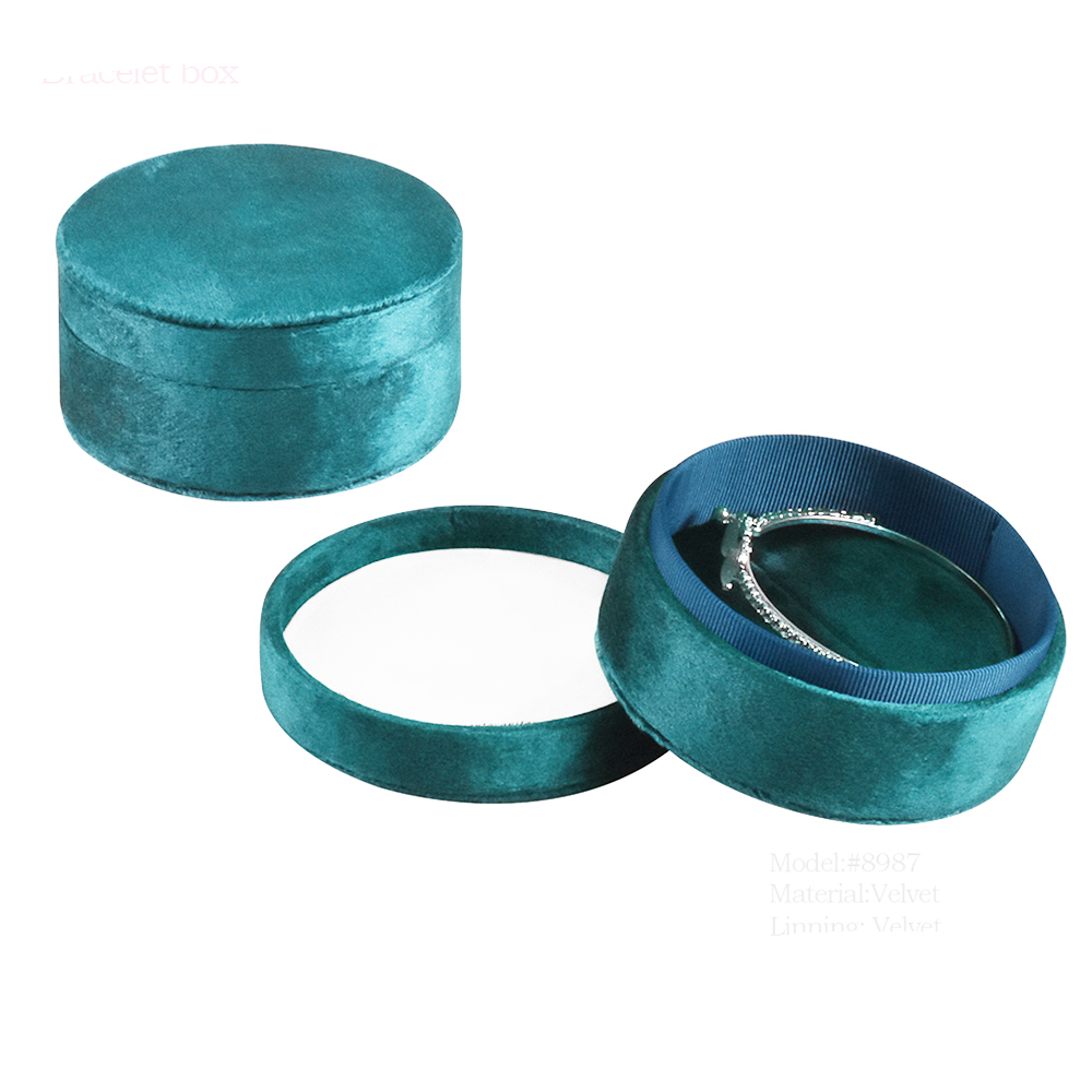 Small classic custom velvet round jewelry boxes wedding ring box for bangle jewelry gift box with cardboard box for jewelry
