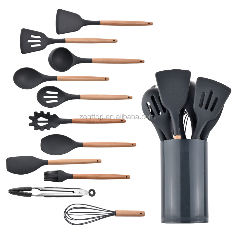 "Plastic Kitchen Tool 10"" Heat Resistant Food-grade Silicone Cooking Baking Cake Tool Chocolate Scraper Spatulas"