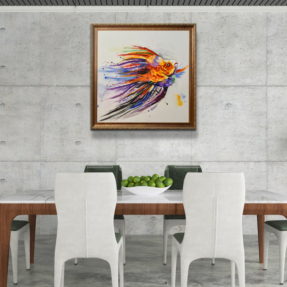 Handmade Impression abstract Pop Art colorful Animal oil painting fish