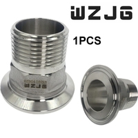 "WZJG 1/2"" DN15-2""DN50 Stainless Steel SS304 Sanitary Male Threaded Ferrule OD 50.5mm fit 1.5"" Tri Clamp"