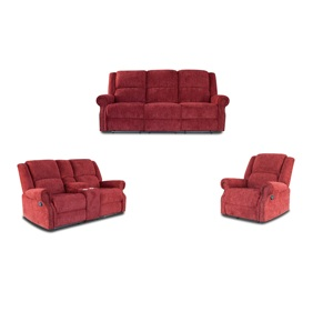 Modern home furniture leisure red fabric 1+2+3 manual recliner sofa