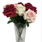 Home wedding decorative colorful single big size artificial red velvet rose single rose spray flower