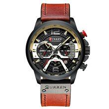 Мужские часы CURREN Топ бренд Роскошные спортивные часы из натуральной кожи водонепроницаемые Хронограф военные часы мужские светящиеся часы...(Китай)