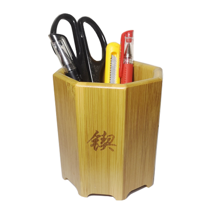 Home office desktop stationery single wooden engraved logo <strong>bamboo</strong> <strong>pen</strong> <strong>holder</strong>