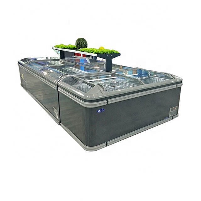 supermarket island freezer sliding glass lid combined island fridge freezer
