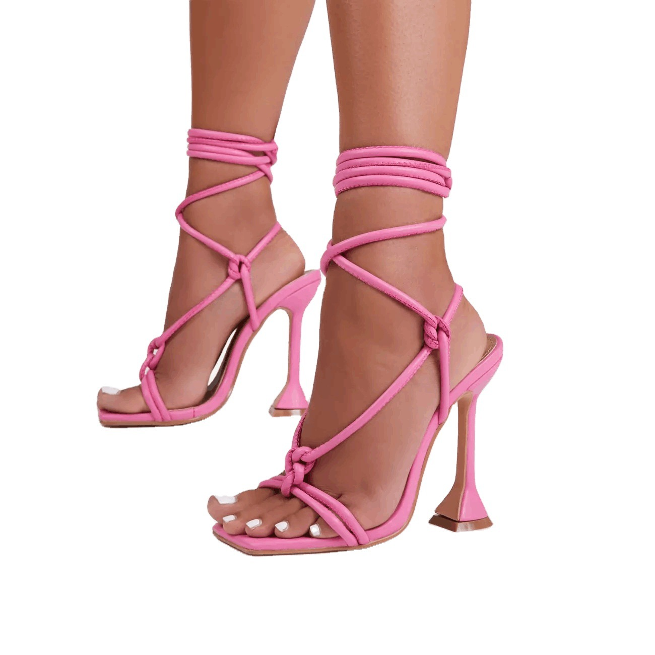 Sandalias Con Tacon Square Toe Pink Nude Lace up 2021 Heels for Women, Rosy pink, nude, black