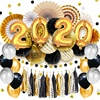 Black Gold Happy New Year tissue balloons party Decorations 2020 Happy New Years decorations