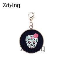 Zdying, модная основа из нержавеющей стали, Череп, подвески, стеклянный скелет, изображение Cabochon, подвеска для ключей, аксессуары для сумок KS011(Китай)