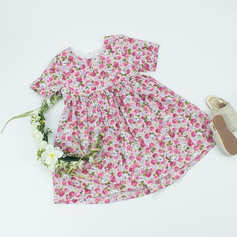 新デザインカスタムaラインのサマードレス服かわいい服綿 100% 花の子供の女の子ドレス