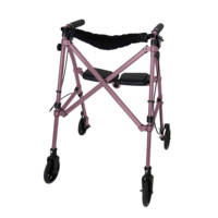 Able Life Space Saver Rollator Lightweight Folding Adult Travel Walker with Seat - Regal Rose