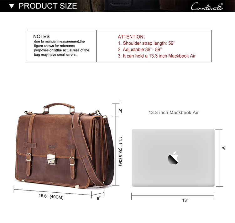 contact's dropshop wholesale factory custom crazy horse leather vintage fashion high quality man leather briefcase for laptop