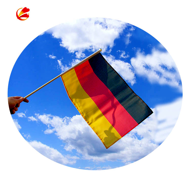 Hand Waving Flag Country Polyester Hand Held mini small waving black red yellow Germany flags with flagpole plastic pole