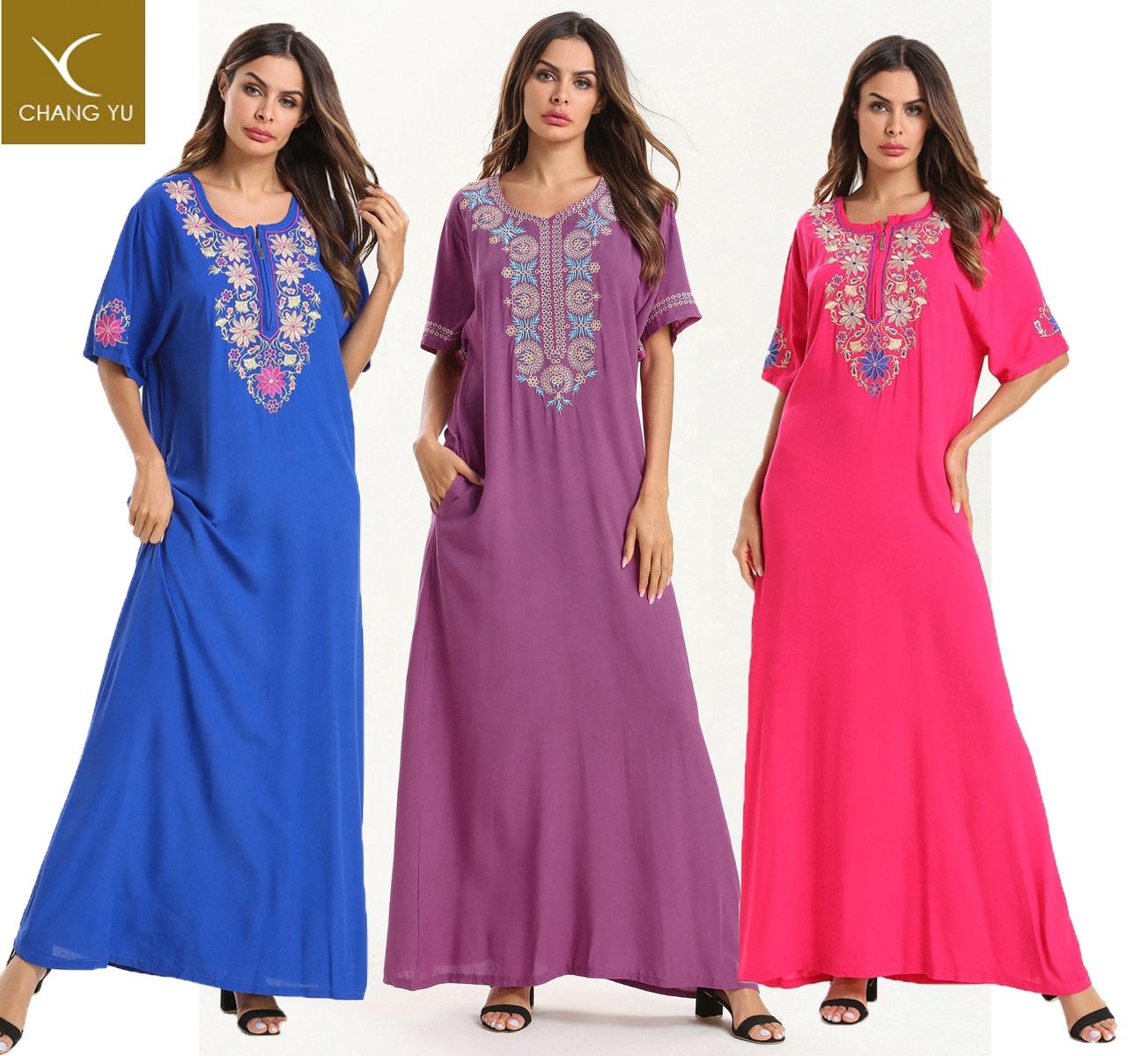 Dubai Arabic Islamic Clothing Embroidery Muslim Maxi Dress woman Abaya
