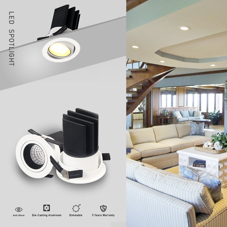 Alibaba suppliers 5w/7w/9w/12w recessed cob dimmable led spotlight ceiling china zhongshan custom project spot light