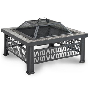 2019 hot sell square outdoor slate table fire pit bbq/brazier wood burning table fire pit