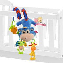 Детские игрушки для детей 0-12 месяцев, плюшевая погремушка, спиральный подвесной мобильный, для новорожденных, коляска, подарок с животными(Китай)