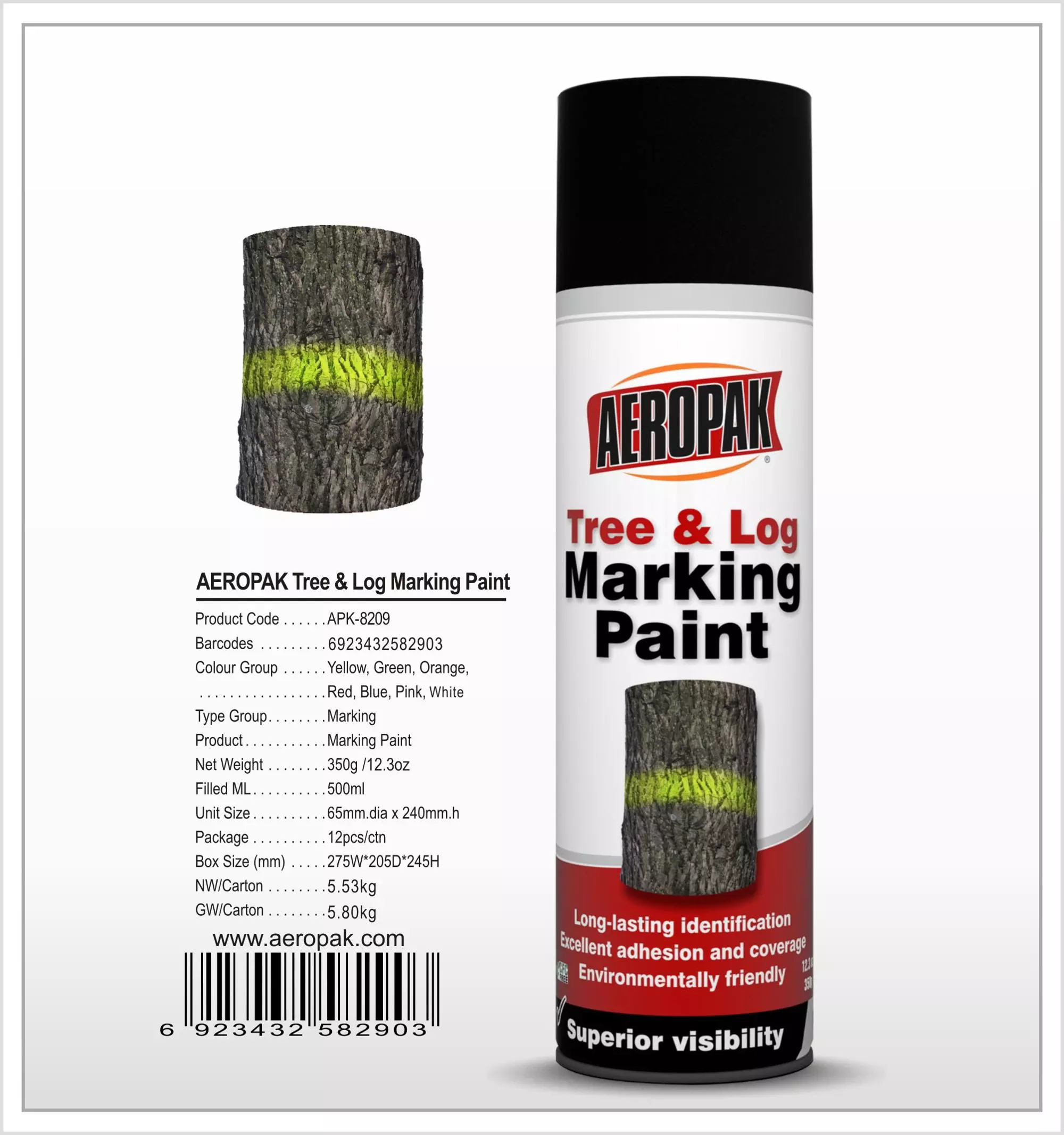 Aeropak 500ML Tree&Log Marking Paint Quick Dry