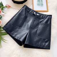 B51459A Wholesale women fashion autumn new casual wear leather shorts