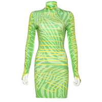 hot Neon color long sleeve Mini dress Bodycon 2019 fashion striped print turtleneck sheath slim sexy party club Hip dress