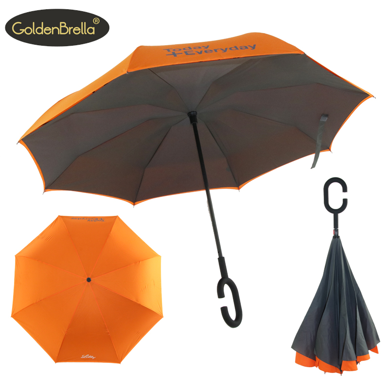 Popular and fashion double layer inside out reverse umbrella C shape handle inverted umbrella with logo prints