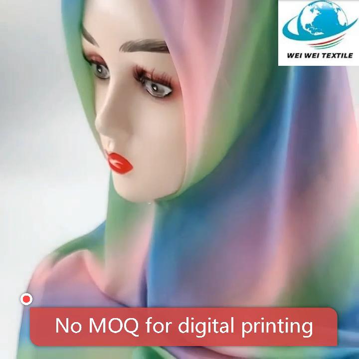 Factory Wholesale Rainbow Digital Print Turban Square Classic Style Stoles Chiffon Scarf For Muslim Women