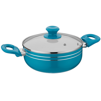 Hot selling Aluminum non stick press  casserole 24cm pot with double handle