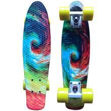 22 дюймов скейтборд Крейсер Доска Звездная Пенни 22 дюйма ретро скейт Графический цветочный галактика полный мальчик девочка Led свет(Китай)