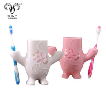 Creative cherry bathroom multi-function home bathroom ceramic human toothbrush holder