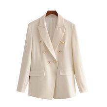 Женский двубортный пиджак KPYTOMOA, винтажный офисный пиджак с длинным рукавом и карманами, верхняя одежда, 2020(Китай)