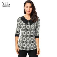 YTL женская блузка, винтажные рубашки с принтом, кукольный воротник, гламурные рукава три четверти, блузки для женщин размера плюс, футболка ...(Китай)