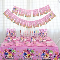 144pcs Serves 10 Pink Shark Baby Birthday Party Decoration Supplies For Kids Plates Cake Topper Girl Baby Shower Birthday Gift