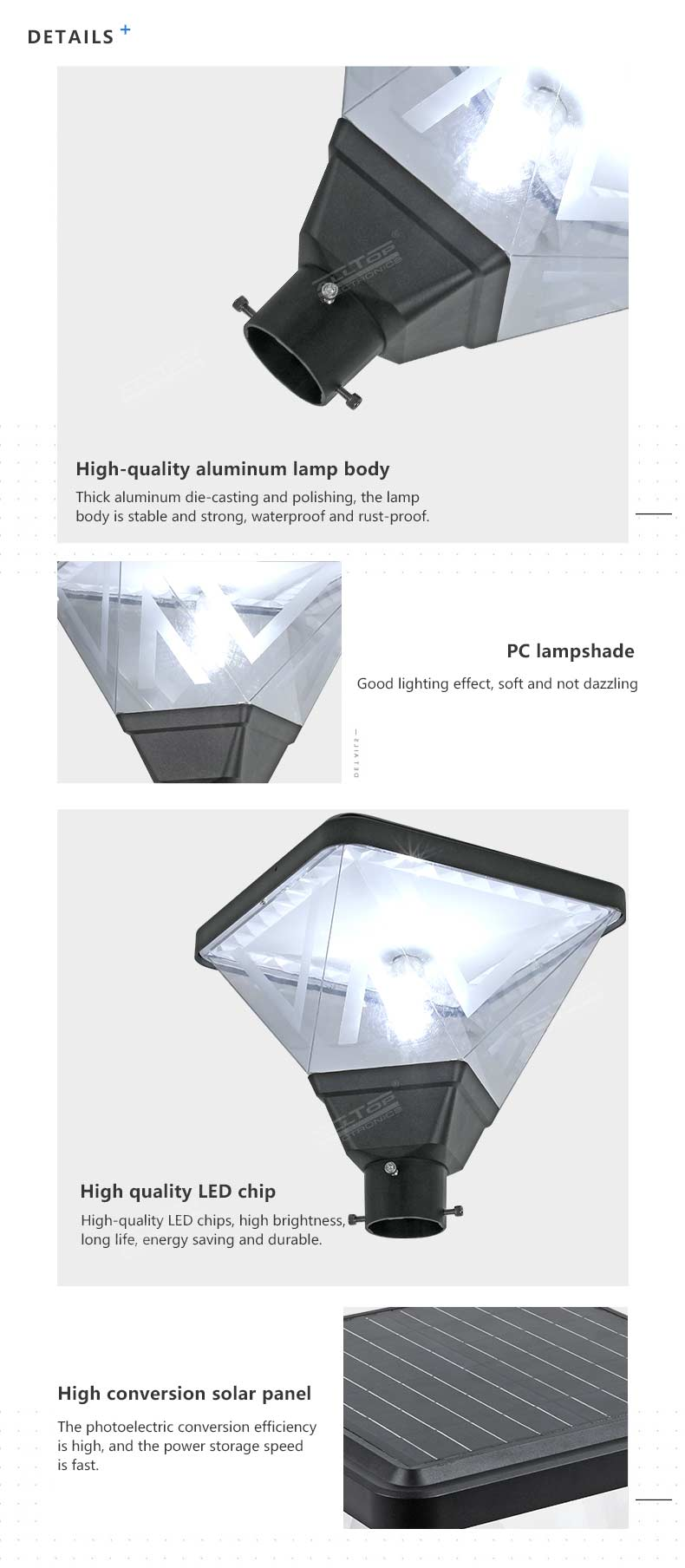 ALLTOP Waterproof modern decorative outdoor solar LED street garden lights for road lighting