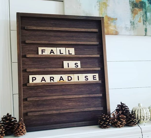 Wooden Letter Board Floating Shelf Wall Mounted Letter Ledge with Letters for Home Decoration