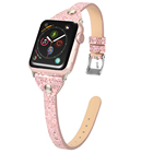 Bling Glitter Flash Leather Watch Band Sequin Rivets Wrist Straps for Apple Watch Series 1/5 iWatch Buckle Clasp 38mm/44mm