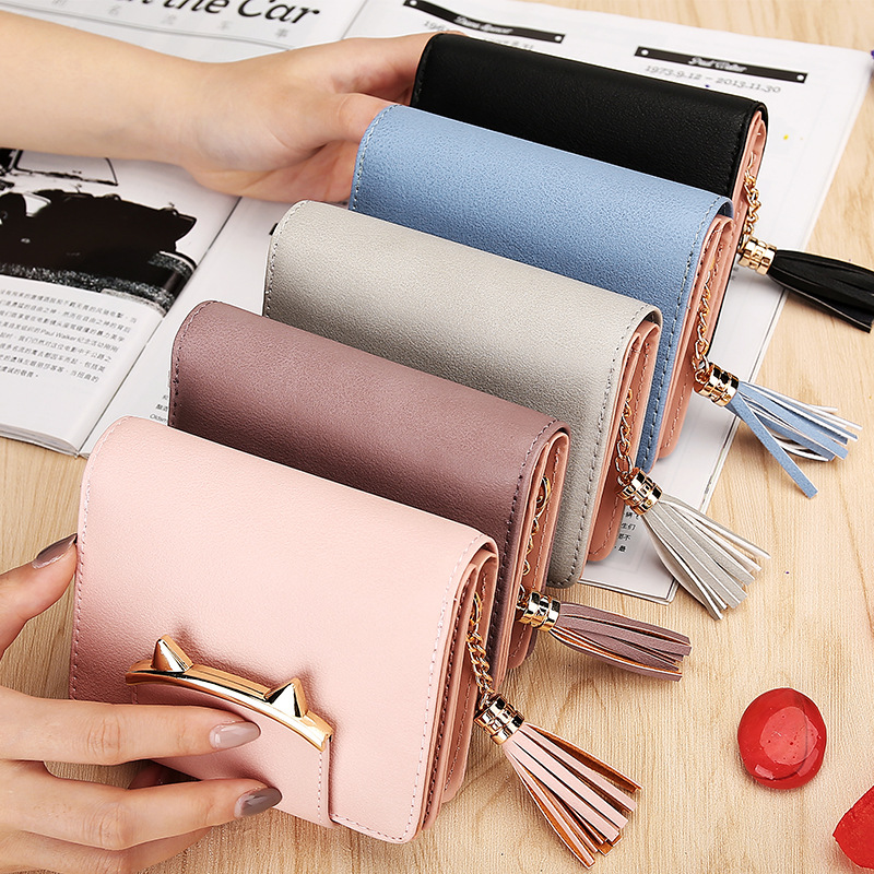 New fashion lady purse trifold small cute wallet for women tassel zipper coin bag