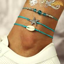 Женские летние сандалии золотистого цвета с цепочкой, украшенные кристаллами; Пляжные браслеты в богемном стиле с цепочкой для ног(Китай)