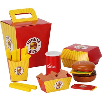 Kids Kitchen Set Toy Pretend Play Food Simulation Tableware Cutting Toy Wooden Burger Sandwich-Making Set Toys