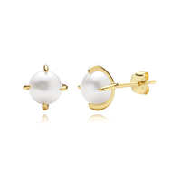 925 Sterling Silver Pearl Stud Earrings Gold Plated Solitary Mini Pearl Gold Earrings