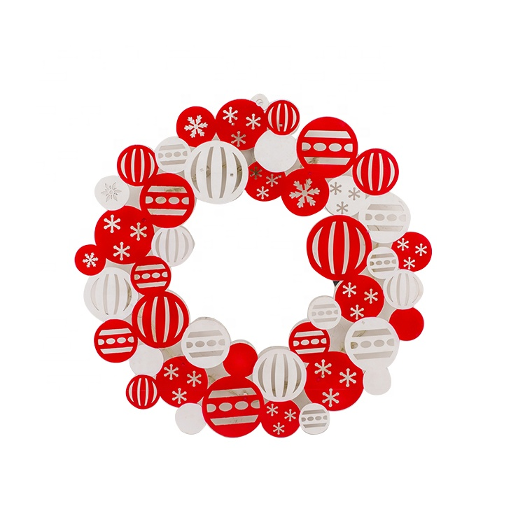 2020 חדש אדום זר חג המולד קישוטי עץ חג המולד מואר קיר תפאורה