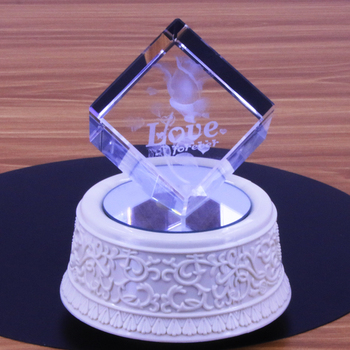 Light Music Wedding Souvenir Laser Engraving 3D Roses Crystal Cube Rubik's Cube Wedding Souvenir Table Decoration