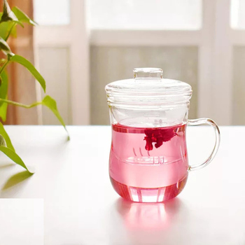 Heat resistant glass mug with glass infuser for flower teas, glass teacup
