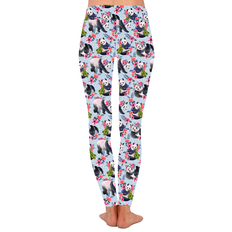 Custom design großhandel butter weiche digitale reizende blumen panda leggings