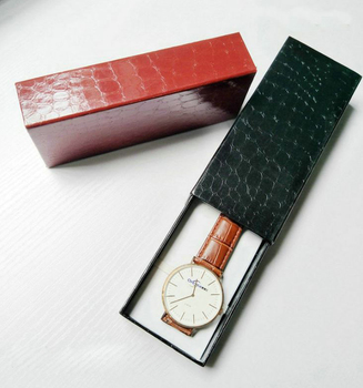 Custom luxury glossy PU leather watch packaging box with belt