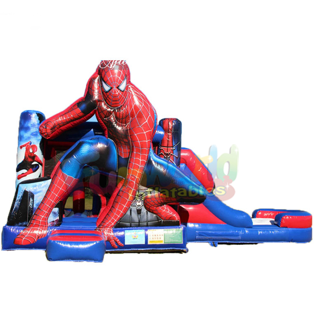 Giant custom inflatable jump bouncy castle to buy castello gonfiabile spiderman bounce house with slide