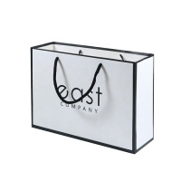 High quality Fashion Custom Paper Jewelry Packaging bag Laminated Art Paper Bag White With Company Logo Print