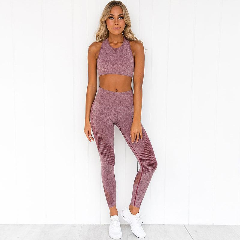2020 Women Gymwear Fitness Wear Padded Bra Crop Top Legging Seamless Yoga Set 9