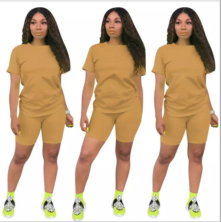 PH-206326 Summer 2020 Colors 12Casual Fashion O-Neck Solid Color 2 Piece Pants Set Women Clothes