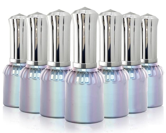 15Ml Kosong Kaca Cat Kuku Perak Botol Stoples Kosmetik Container dengan Cap dan Sikat Lembut untuk DIY Nail Art make Up (Tutup Perak)